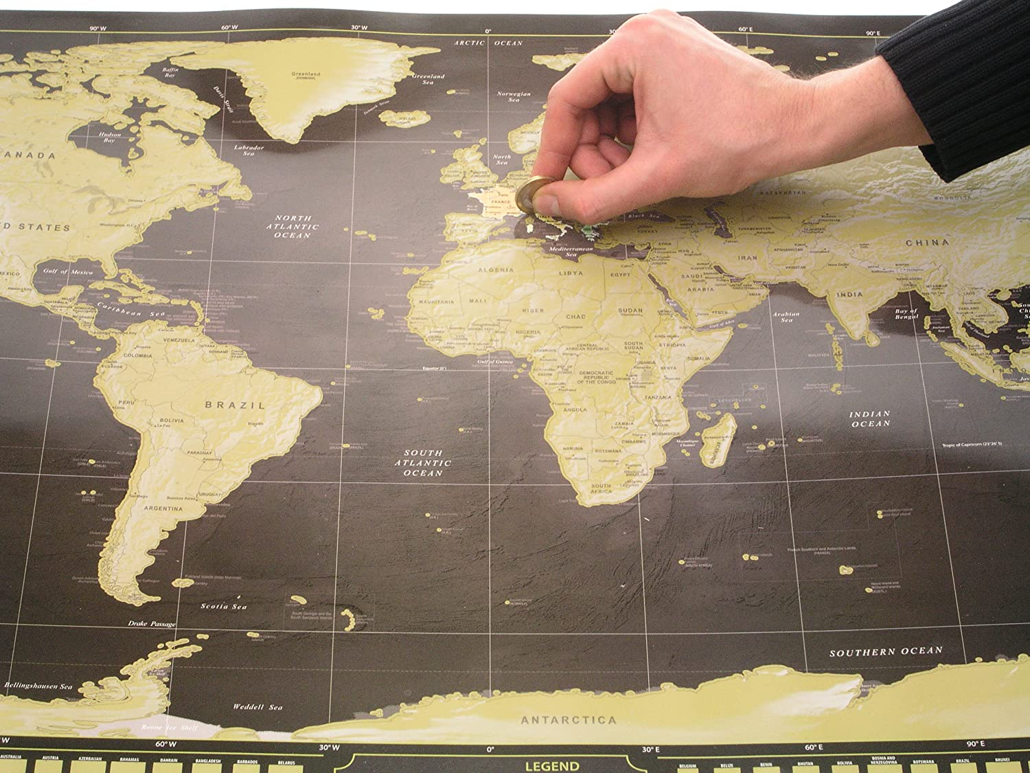 """Deluxe Scratch Off World Map Poster - with Country Flags and The World's 50 most visited tourist attractions, Track Your Adventures (Black & Gold with Silver Mountains - 33"""" x 23"""")"""