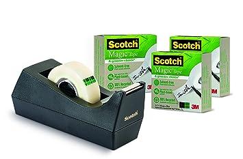 Scotch Magic 9-1933R3C38 - Pack de 4 dispensadores de cinta de embalaje, 19 x 33m: Amazon.es: Oficina y papelería