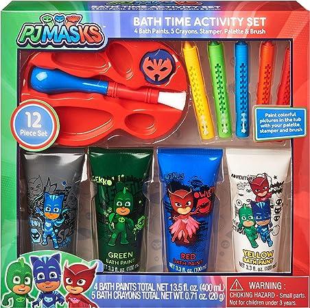 PJ Masks - Juego de 12 piezas para la hora del baño, 4 pinturas de baño, 5 ceras de baño, estampador, paleta y cepillo