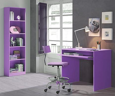 Libreria E Scrivania Per Studio.Leo Set Scrivania Per Bambini Studio Libreria Viola Amazon It
