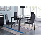 IDS 5 Piece Compact Dining Table Room Set for 4 With Glass Top and Soft Faux Leather Chairs Dinette - Rectangular Black