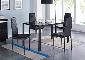 IDS 5 Piece Compact Dining Table Room Set For 4 With Glass Top And Soft Faux