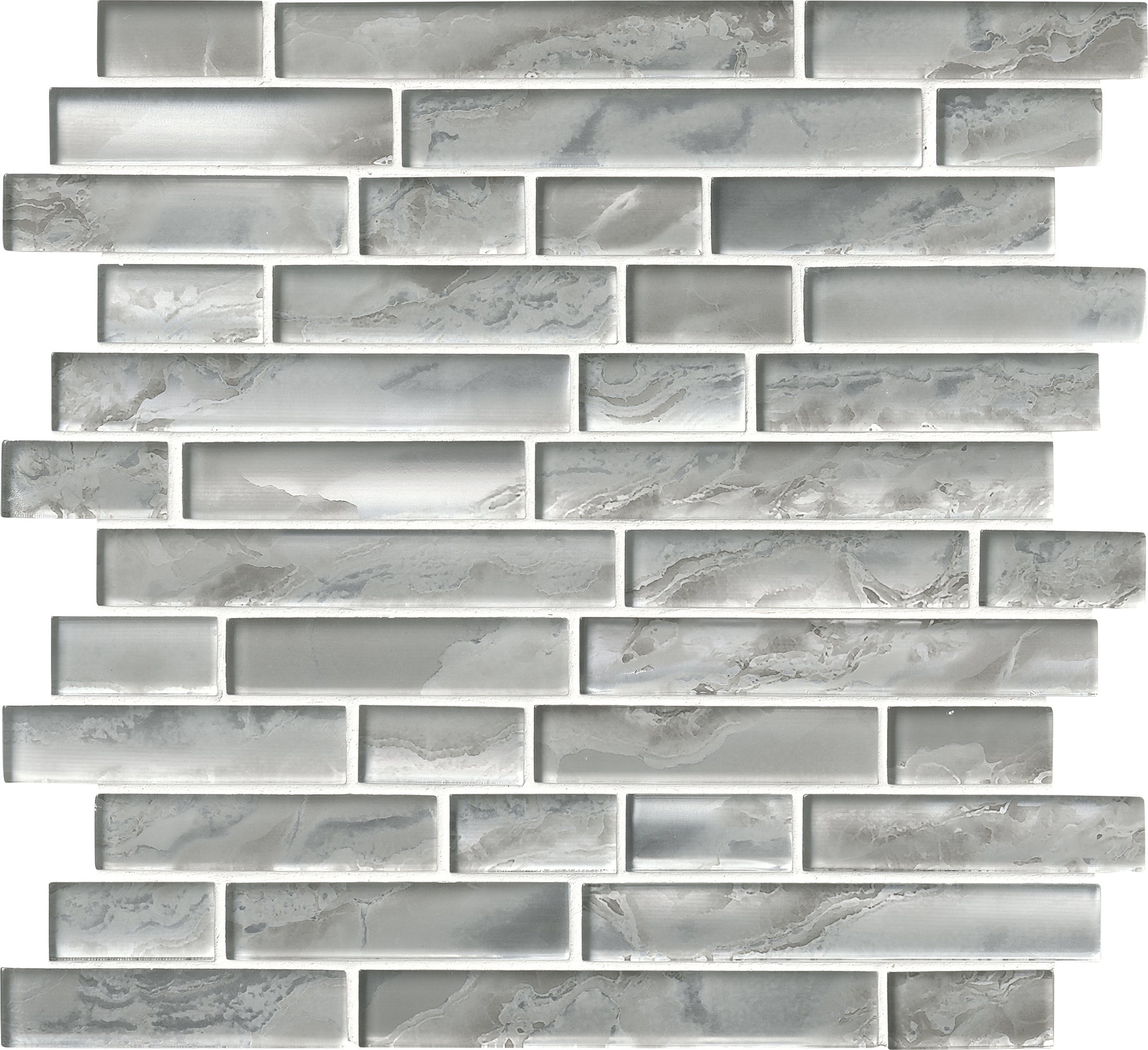 M S International Silver Canvas Interlocking 12 In. X 8 mm Glass Mesh-Mounted Mosaic Tile, (10 sq. ft., 10 pieces per case)