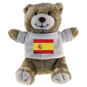 Oso de peluche diseño de bandera de España Beige