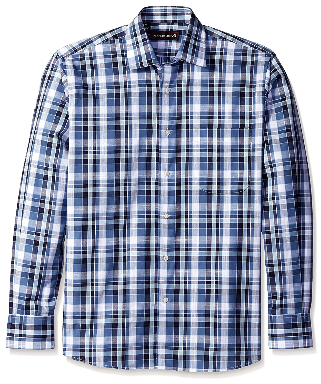 06d680bc9eee2f Navy Kenneth Kenneth Kenneth Gordon Men's Plaid Spread Collar Sport Shirt  0c1043