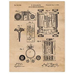 Vintage First Computer Patent Poster Prints, Set of 1 (11x14) Unframed Photo, Great Wall Art Decor Gifts Under 15 for Home, Office, Garage, Man Cave, College Student, Teacher, Smart Devices Fan