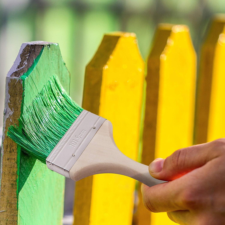 - Taille 10,16 cm Pinceau de Bricolage Jetable 4 Pinceau de Peinture Les Colles et Le Gesso Pinceau pour Vernis Lot de 12 Parfait pour la Peinture Murale et la Peinture sur Bois