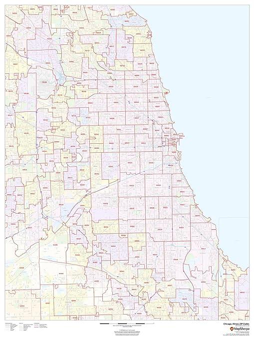 Amazon Com Chicago Illinois Zip Codes 36 X 48 Paper Wall Map