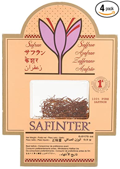 Safinter 100% Pure Saffron Threads, 0.0175-Ounce Packages (Pack of 4)