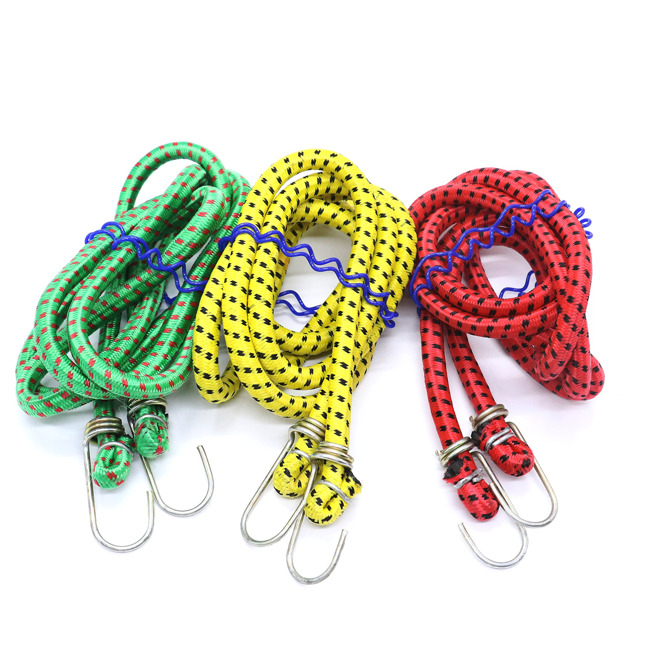 Bungee Cord, 3 Pack 6 Feet Long Bungee Cord with Galvanized Steel Hooks by IDS