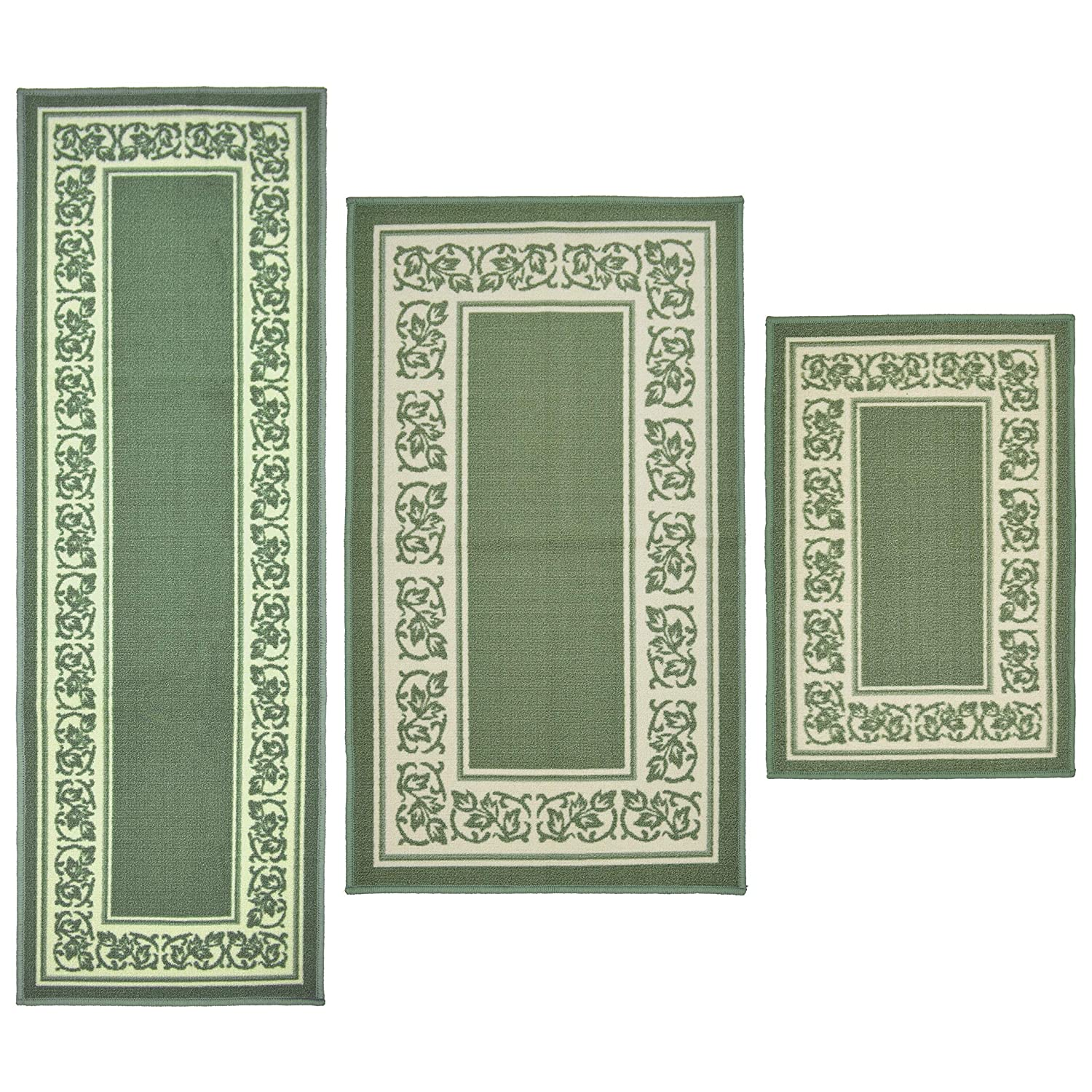 Olefin Synthetic Misc Sage Green 3pc Kitchen Rug Set Boho Chic Floral Non Slip Anti Room Entryway Accent Decoration Rugs Kitchen Table Linens Home Kitchen Westmead Is Edu Ph