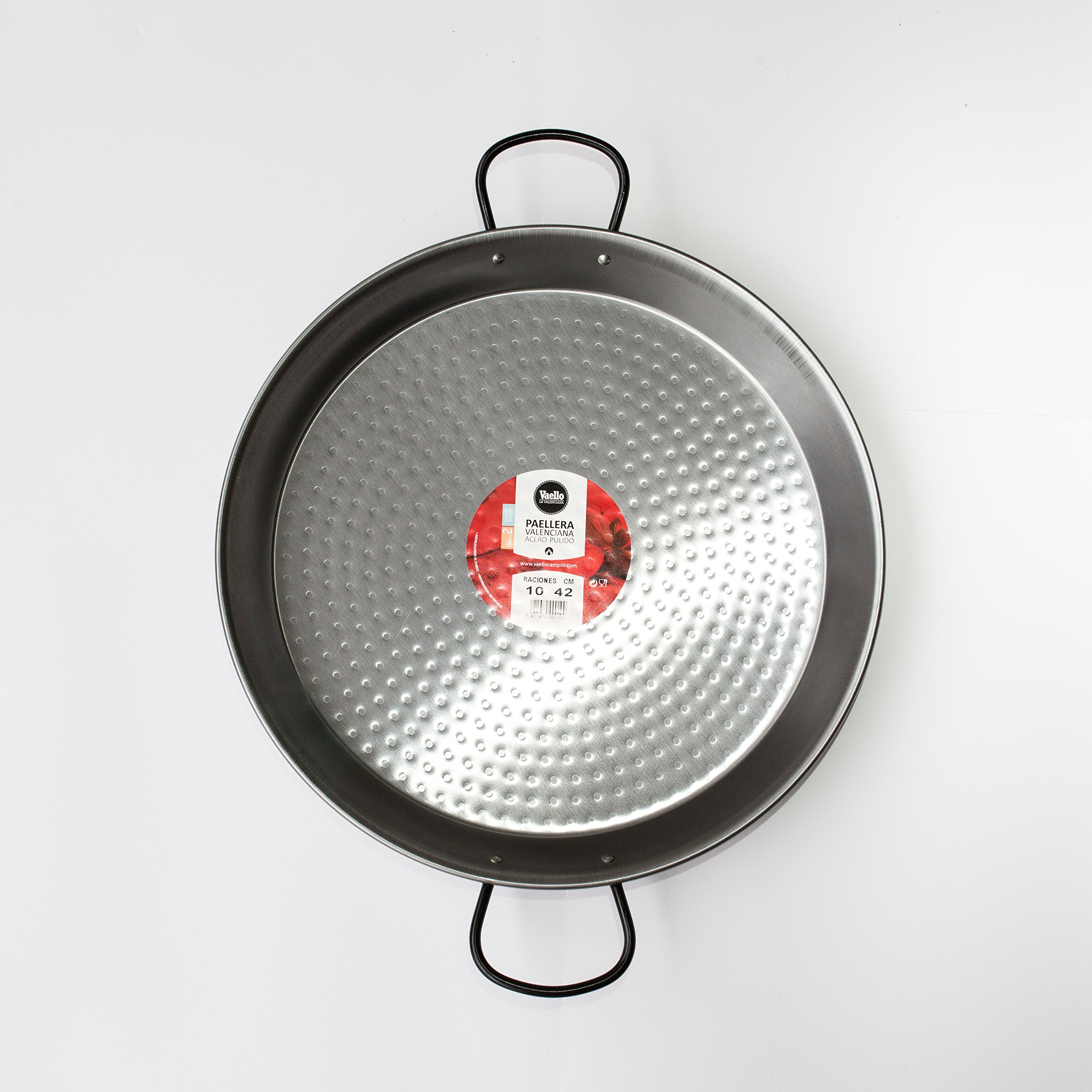 Polished Steel Valenciano paella pan 16.5Inches / 42cm / 10 servings