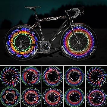 Luces para Rueda de Bicicletas, ZeWoo Led para radios de bicicleta impermeables 16 LEDs 32 cambios de patrón diferente montar al aire libre: Amazon.es: ...