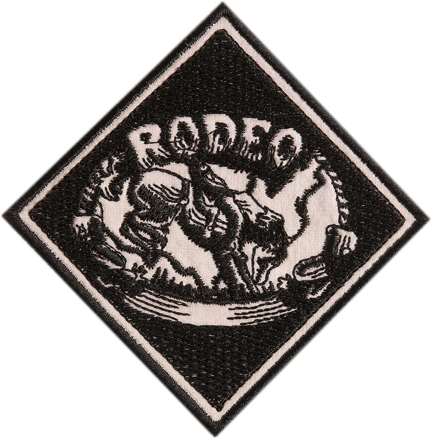 Embroidered Retro Vintage Black /& White Cowboy Rodeo Rider Western Patch Applique Iron On
