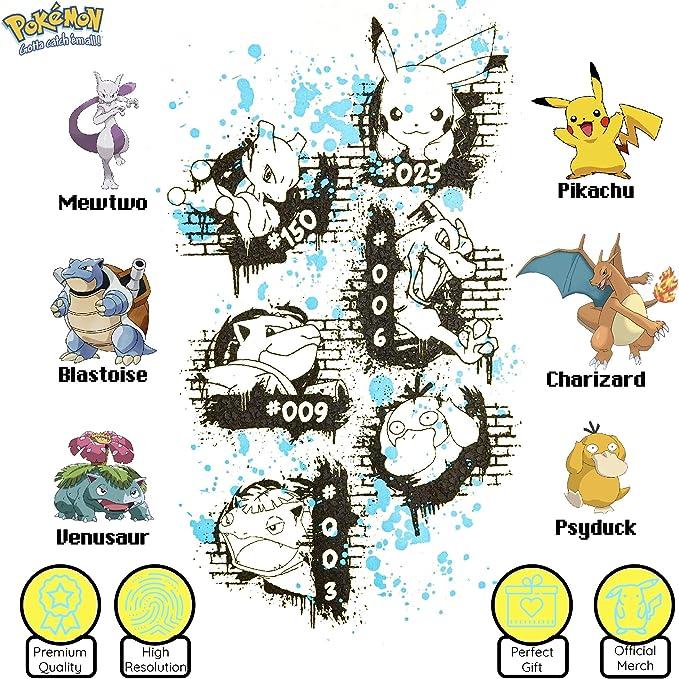 Charizard MewTwo Blastoise Psyduck E Venusaur Pok/èmon Maglietta Bambino A Maniche Corte con Pikachu Magliette di Cotone per Ragazzo Ragazza