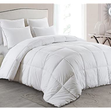 Basic Beyond All-Season Goose Down Comforter (King) - Warm Down Duvet Insert - Baffle Box, Soft Key Print Cotton Shell, Hypoallergenic, 100% Plush Goose Down Fill Bed Comforter