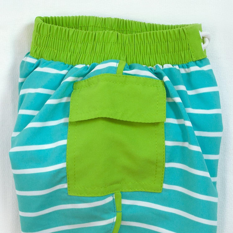 i play Boys Pocket Board Shorts with Built-in Reusable Absorbent Swim Diaper Aqua Stripe 12mo