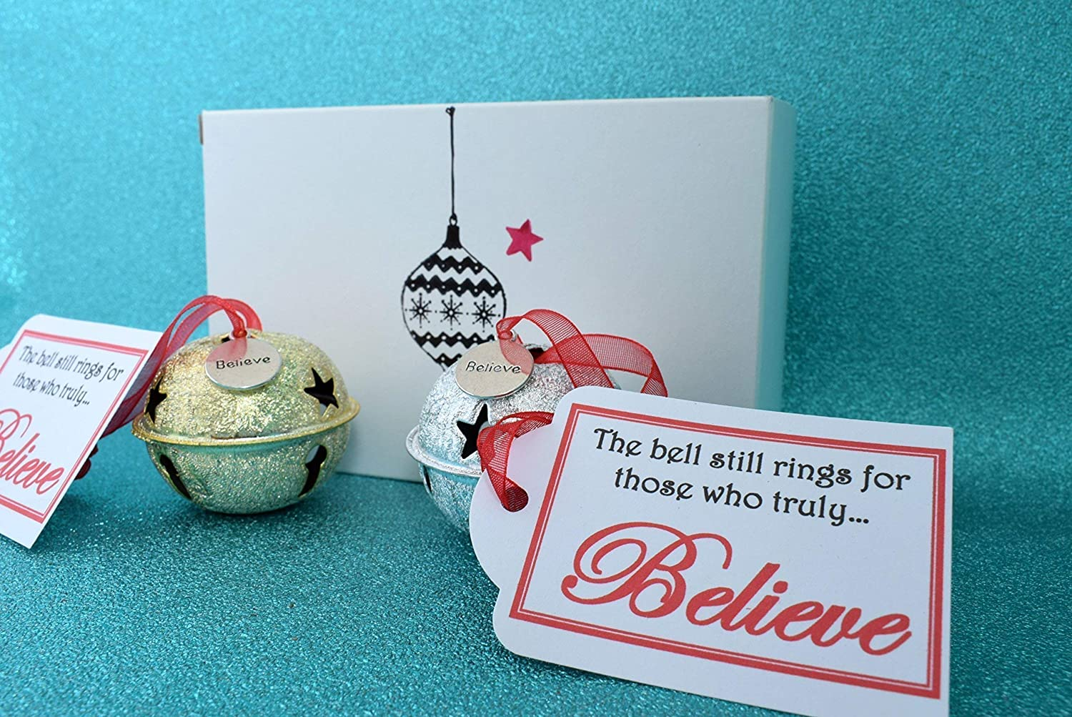 perfect for a Christmas Eve box or gift Large Christmas /'Believe/' Bell