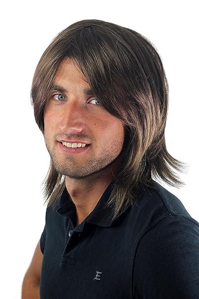 Peluca masculina, para hombre, pelo largo, juvenil, moderno, informal, castaño GFW892-10 Toupet: Amazon.es: Belleza