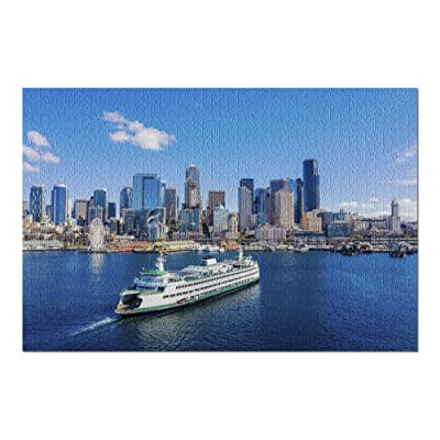 Seattle, Washington - Aerial View of Passenger Ferry & Skyline 9002362 (Premium 1000 Piece Jigsaw Puzzle for Adults, 20x30, Made in USA!): Toys & Games