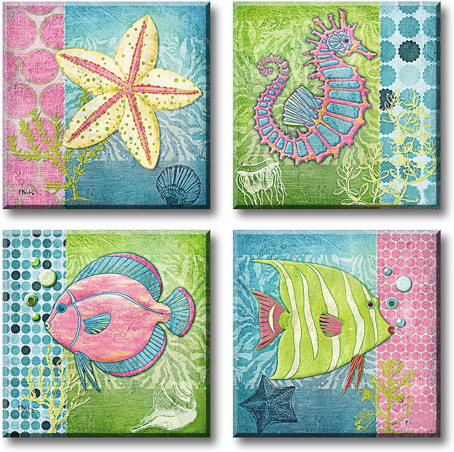 JiazuGo Bathroom Decor Wall Art Beach Pictures Teal Nautical Accessories Canvas Prints Coastal Seahorse Starfish Pretty Fish Paintings for Bedroom Restroom Home Decoration Framed 12X12 4 Pcs/Sets