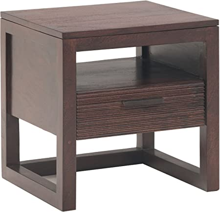 The Jaipur Living Ritz Solid Wood Bed Side Drawer (Wenge Finish, Brown)
