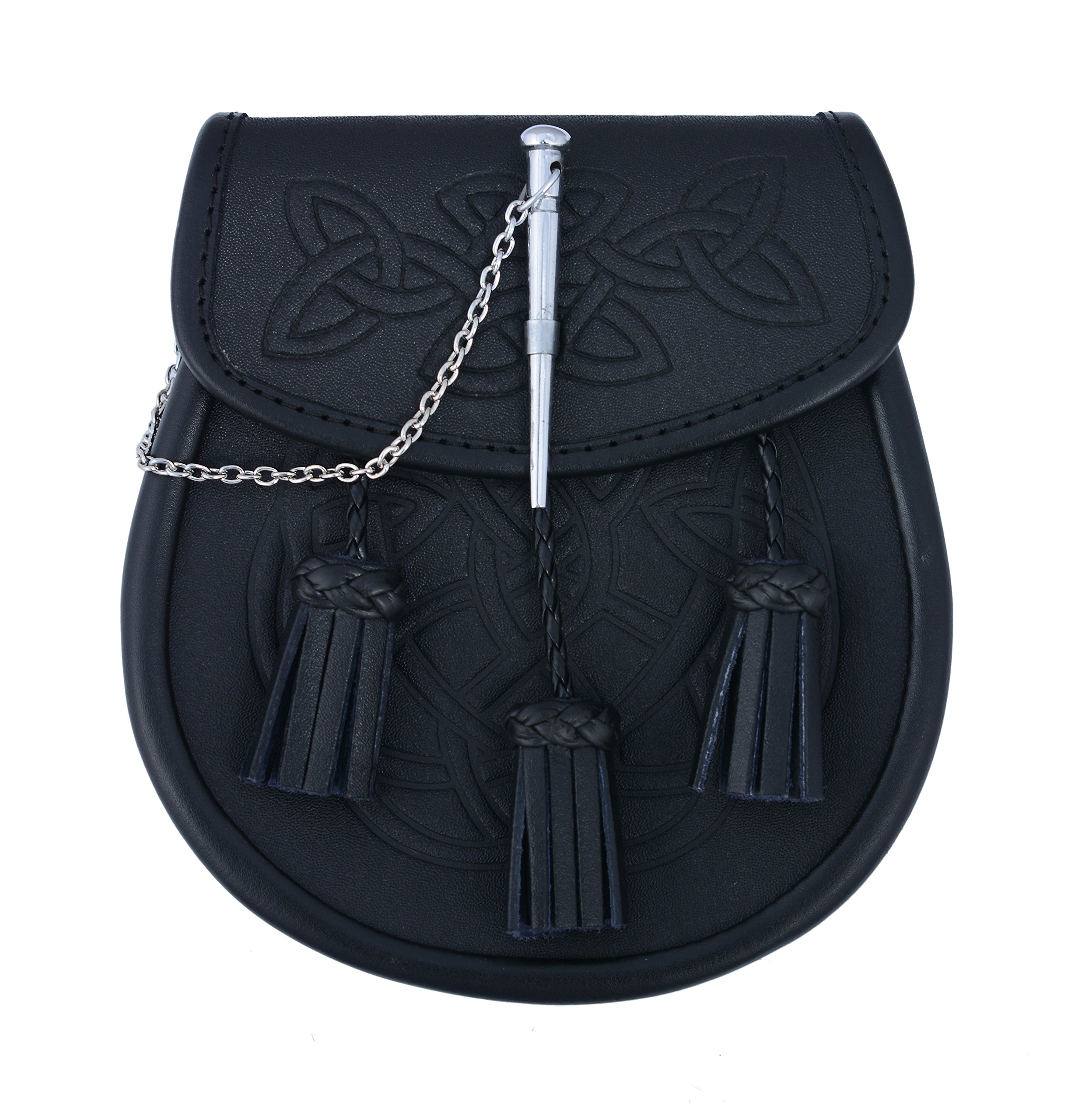 Embossed Black Leather Scottish Kilt Sporran With Pin Lock & Tassels