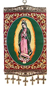 Religious Icon - Our Lady of Guadalupe - Holy Saint Mary Blessed Virgin - Wall Hanging Tapestry Banner Large Art Decor - Christian Orthodox Catholic Cross - 16 x 8 inch - Christmas Gift