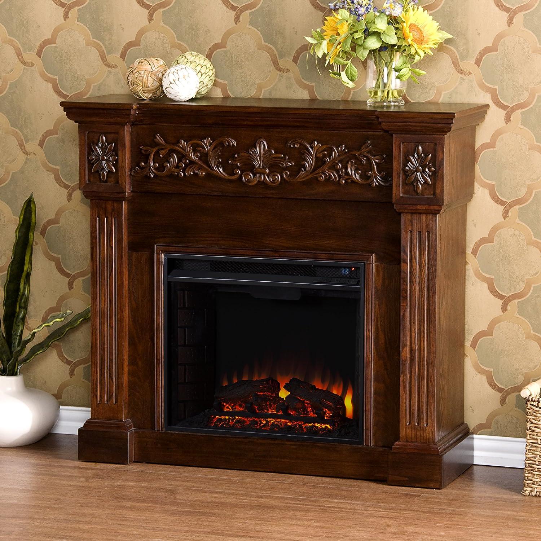 amazon com calvert carved electric fireplace espresso kitchen