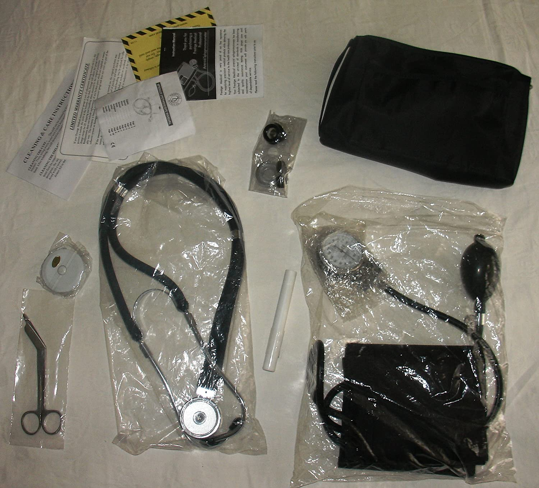 NCD Medical/Prestige Medical - Juego de instrumentos médicos (tensiómetro de brazo y estetoscopio de doble cabezal), color negro (schwarz)