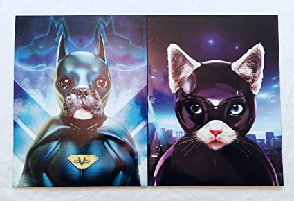 Super Hero Pets Portfolio Folders Dark K9 Cat Villain