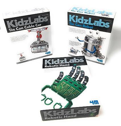 KidzLabs Robot Toys Science Experiments for Kids, Tin Can Robot, Robotic  Hand, Tin Can Cable Car - Science Kits for Kids - Robot - Robotics for Kids