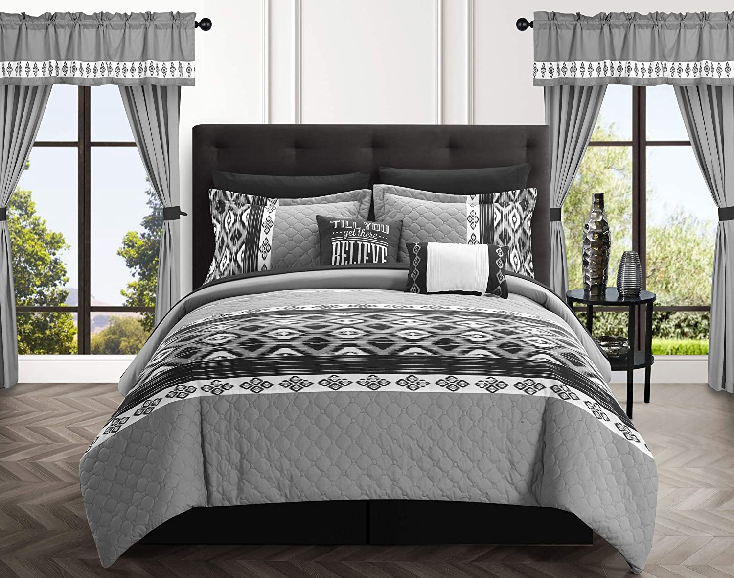 Chic Home Safforn 20 Piece Comforter Set Color Block Geometric Ikat Embroidered Bag Bedding-Sheets Pillowcases Window Treatments Decorative Pillows Shams Included, Queen, Black