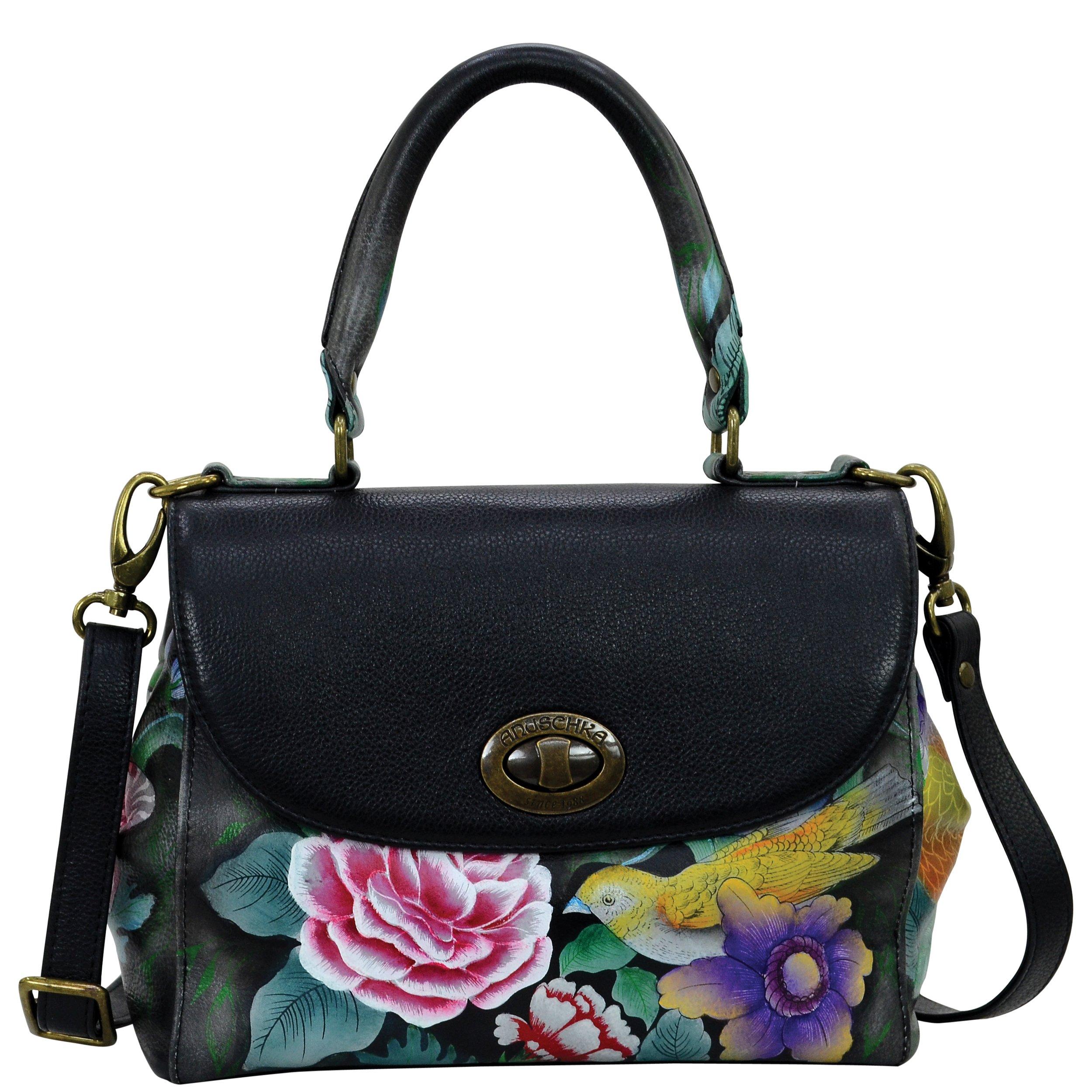 Anuschka Hand Painted Designer Leather Handbag- Christmas gifts for women-Medium Flap Satchel ( Vintage Bouquet 624 VBQ )