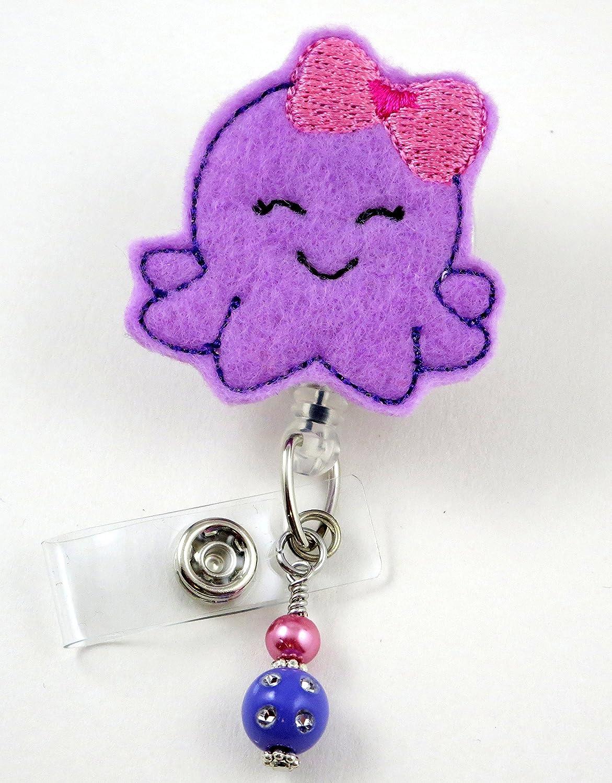 Purple Octopus withピンクBow – ナースバッジリール – Retractable IDバッジホルダー – ナースバッジ – バッジクリップ – バッジReels – Pediatric – RN – 名前バッジホルダー   B013XT45YG