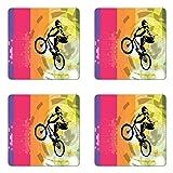 Lunarable BMX Coaster Set of 4, Extreme Cycling on