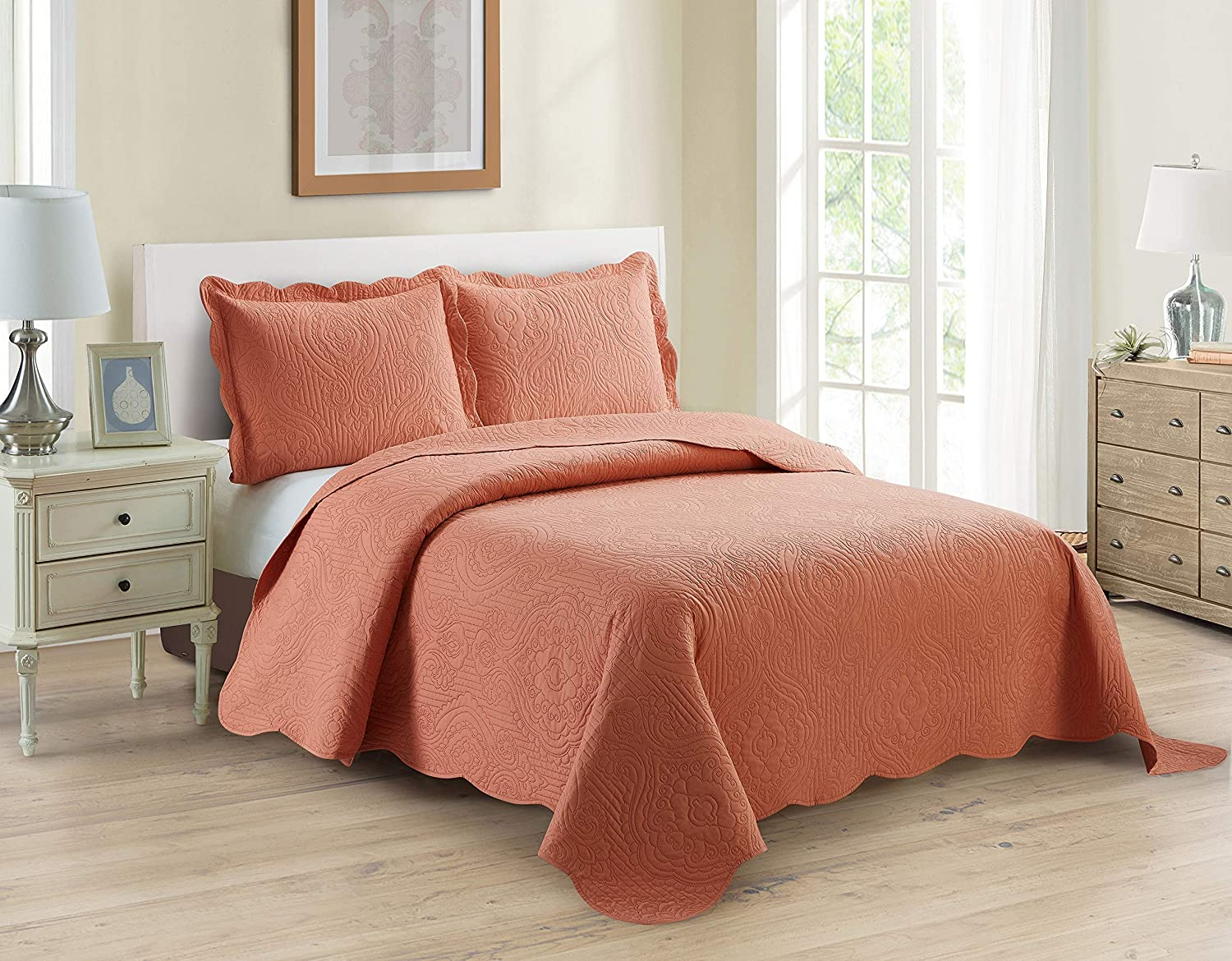 Home Collection 3pc King/Cal King Over Size Luxury Embossed Bedspread Set Light Weight Solid Coral New