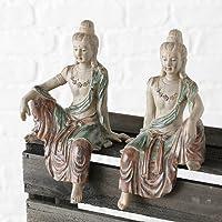 Home Collection Casa Decorazioni Accessori Set di 2 Statue di Buddha Seduti