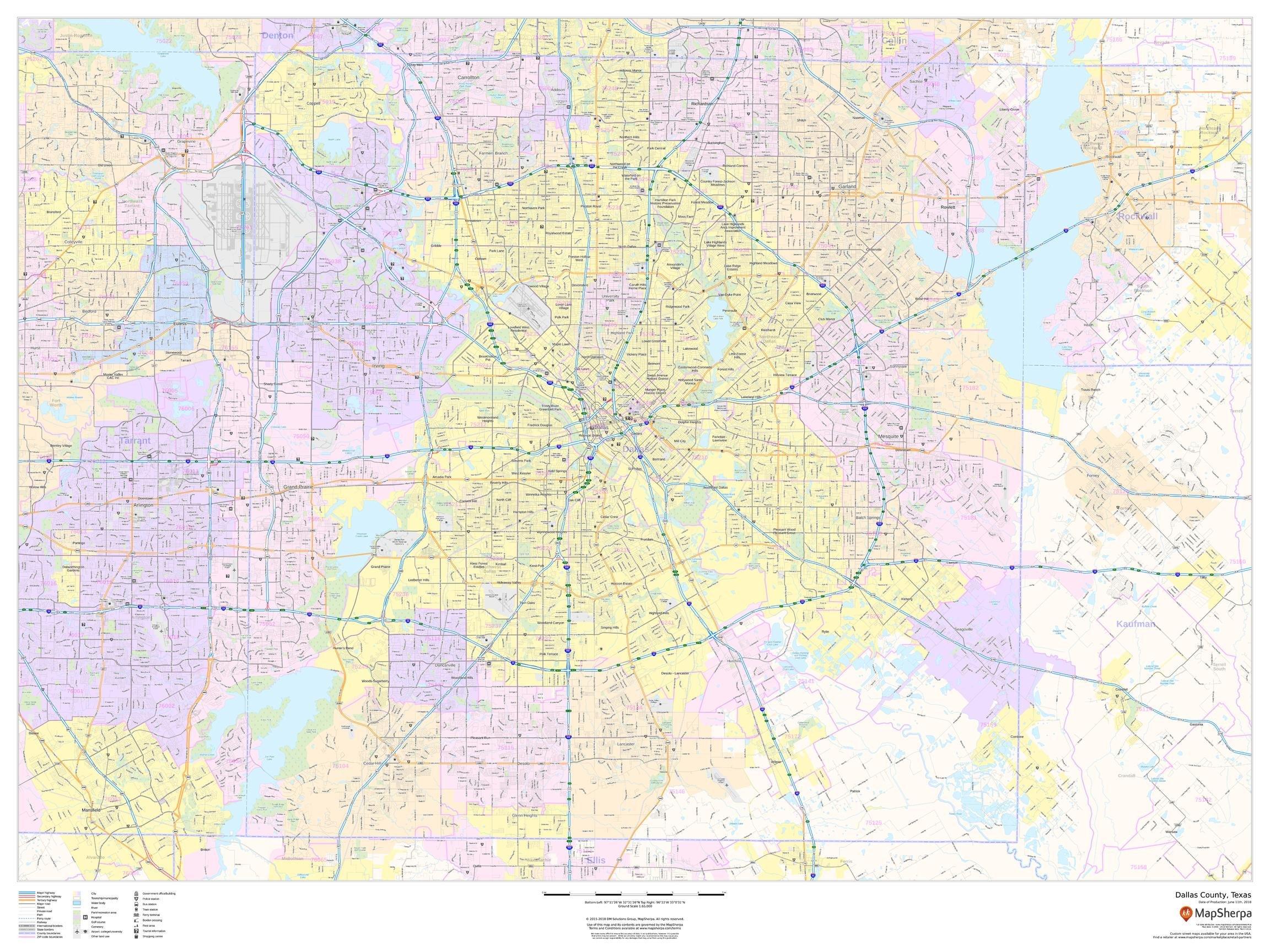 Dallas County, Texas - 48'' x 36'' Laminated Wall Map