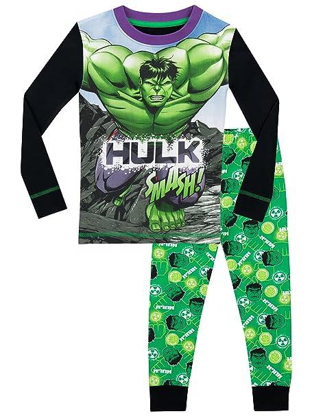 Marvel - Pijama para Niños - El Increible Hulk - Ajuste Ceñido - 11 - 12