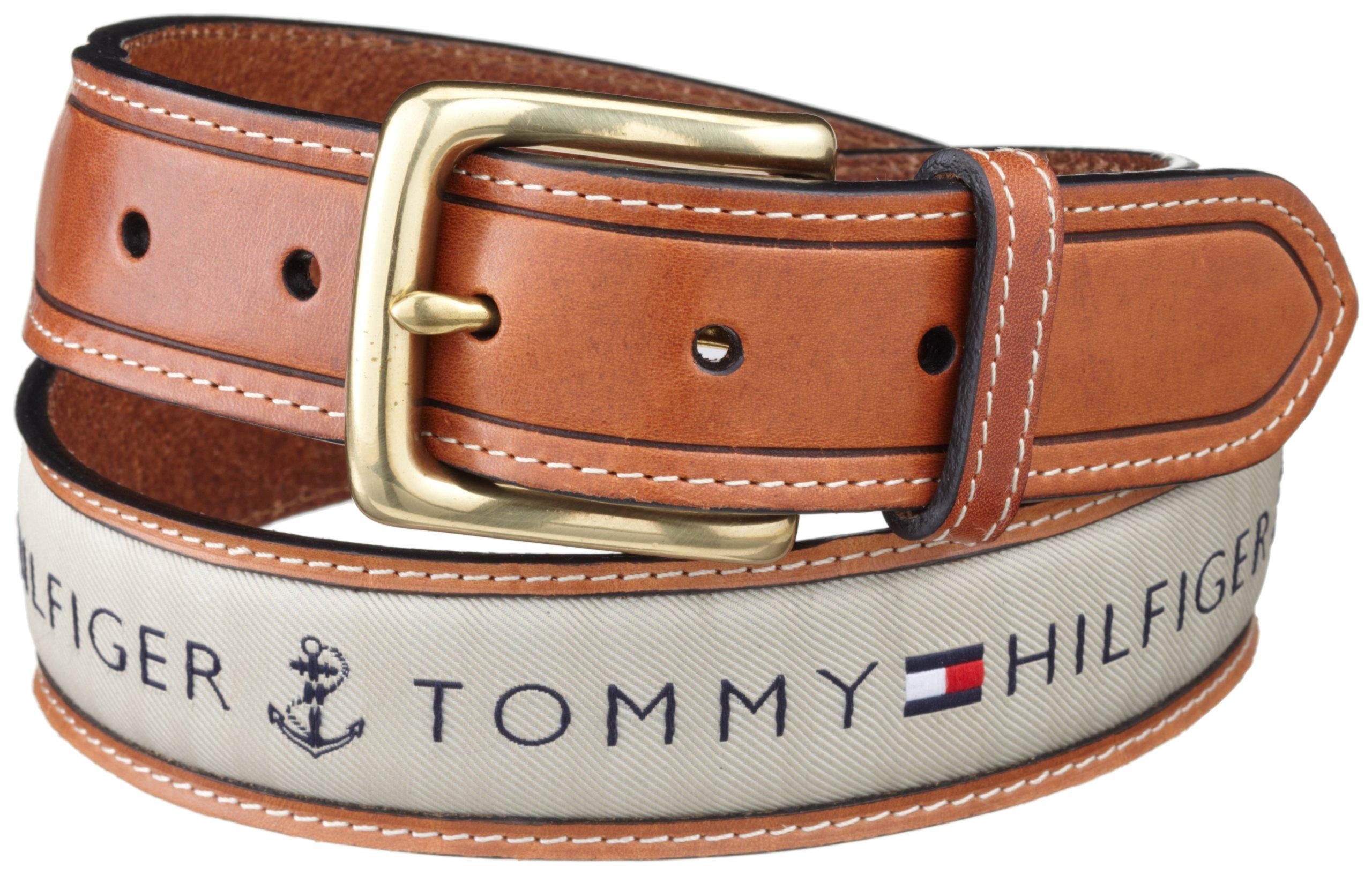 Tommy Hilfiger Men's Ribbon Inlay Belt, Khaki, 32