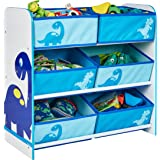 Worlds Apart Dinosaurs Kids Bedroom Storage Unit with 6 Bins by HelloHome