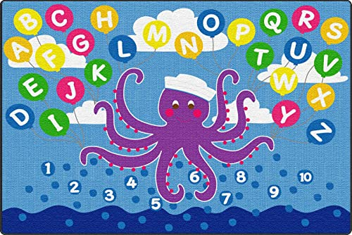 ECR4Kids Olive The Octopus Activity Rug for Children, School Classroom Learning Carpet, Rectangle, 6 x 9-Feet
