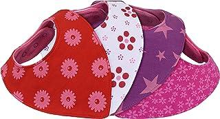 Bavoir bandana bébé fille - lot de 4 - doublé coton éponge et polaire - triangle - pression - mixte rouge rose blanc avec motif - nouveau-né 1 mois à 2 3 4 an-s - bavette-s enfant-s dentition Lamoku GmbH .