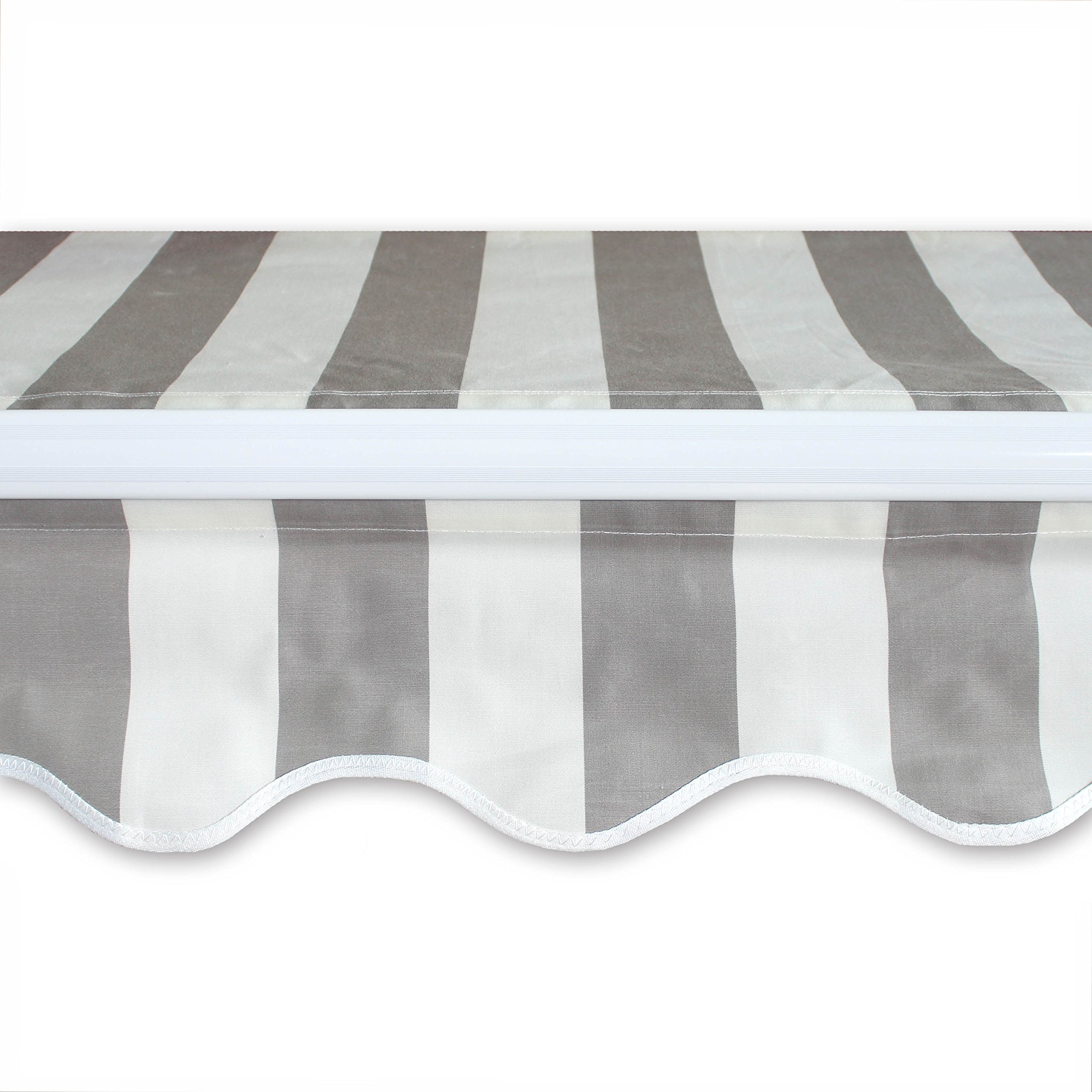 ALEKO AW10X8GREYWHT Retractable Patio Awning 10 x 8 Feet Gray and White Striped