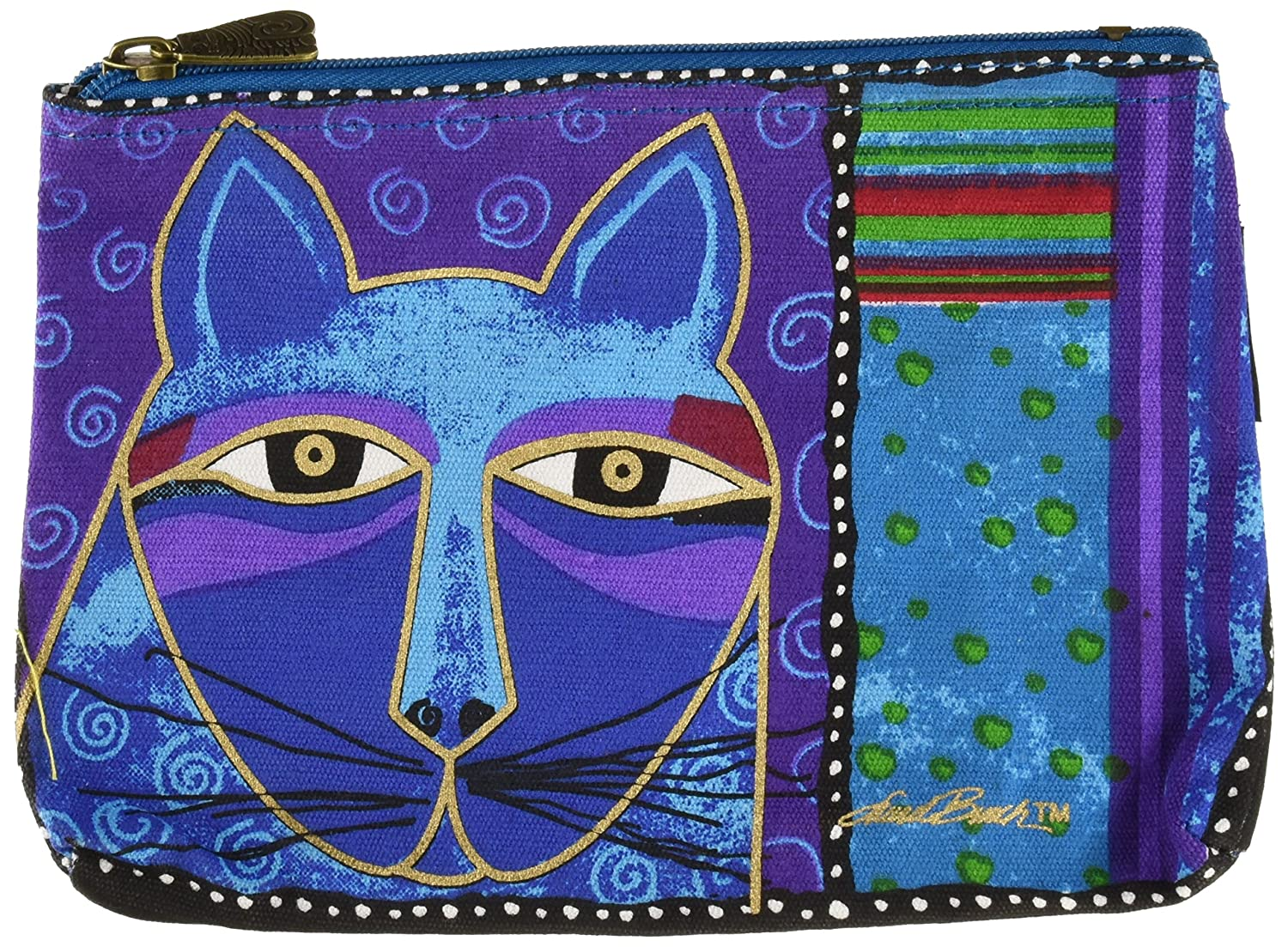 Laurel Burch LB5321 Zipper Top Cosmetic Bag, 9-1 4 by 6-3 4-Inch, Whiskered Cats Colors May Vary