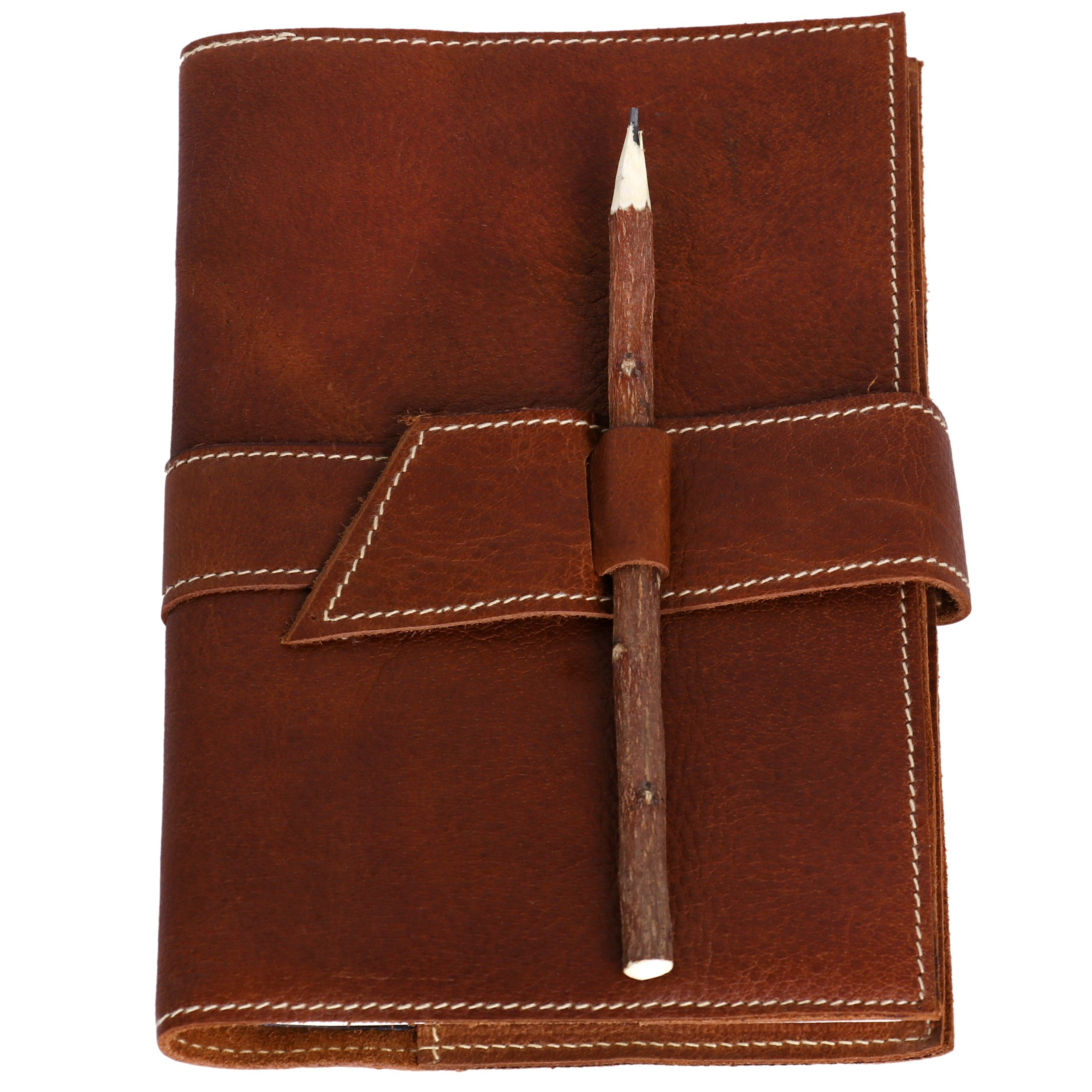 Leather Journal refillable Writing Notebook Full Grain Buffalo Leather Handmade Notepad Sketch Book with Handmade Paper & Wooden Pencil Size 6x9 inches Gift for Artists Men and Women by KomalC (6x9)