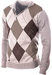 4cb36ca13f44 Enimay Men s Fashion Business Casual Long Sleeve Half Zip Argyle Pull Over