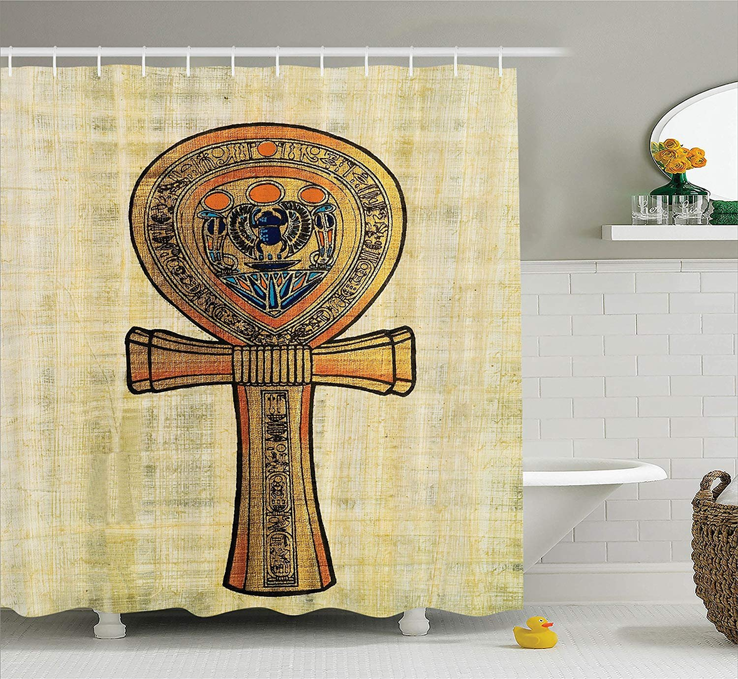 Printing Egyptian Decor Shower Curtain Set, Ancient Papyrus Presenting The Key of Life Traditional Empire Egyptian Print, PVC Free, Non-Toxic and Odorless Water Repellent Fabric, 72 x 84 Inches
