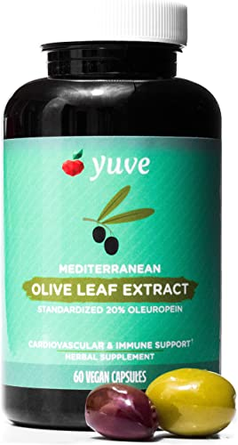 Yuve Mediterranean Olive Leaf Extract 750mg – 20 Non-GMO Oleuropein – Cardiovascular Health Immune Support – Helps Rejuvanate Skin – Powerful Antioxidant – Vegan, Natural, Gluten-Free – 60 Capsules